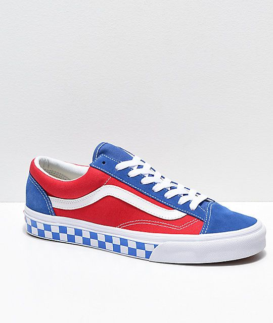 Vans Style 36 BMX Red, White \u0026 Blue Checkerboard Skate Shoes