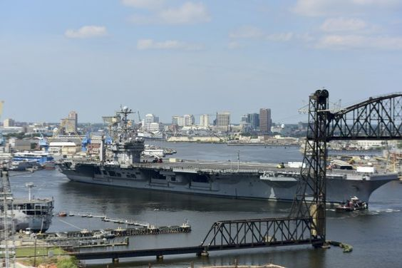 USS Harry S. Truman (CVN-75) transits the Elizabeth river from its homeport at Naval Station Norfolk to Norfolk Naval Shipyard on Aug. 25, 2016. US Navy Photo