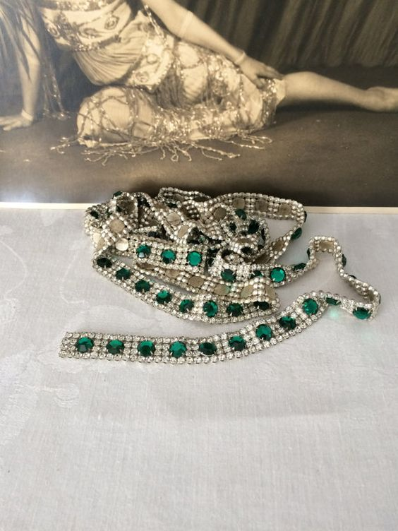 RESERVED Art Deco Emerald Green Rhinestone by TheButlersCottage