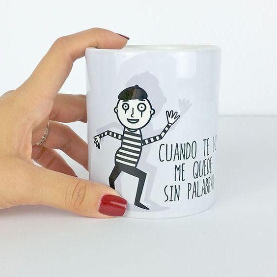 Taza cuando te vi me quedé sin palabras con dibujo mimo. www.vagalumedesigns.com