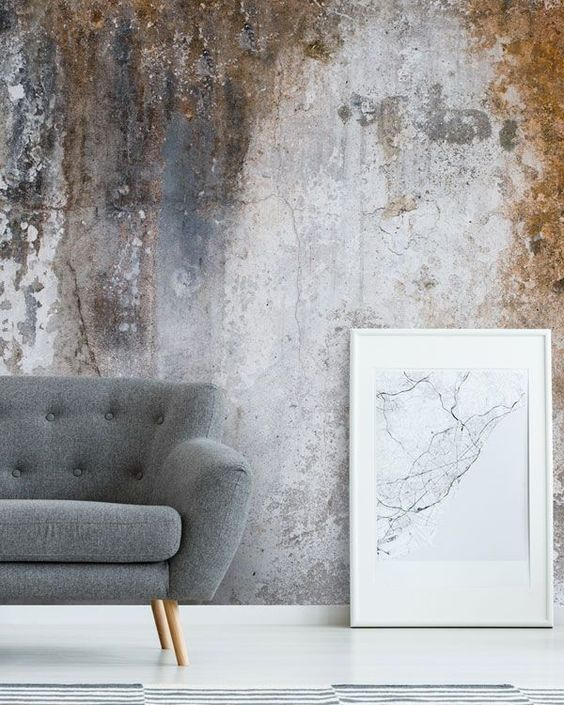 Aged Concrete Wallpaper As An Accent Wall Wall Art Living Room Wallpaper Living Room Concrete Wallpaper