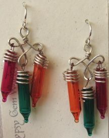 Christmas lights as earrings