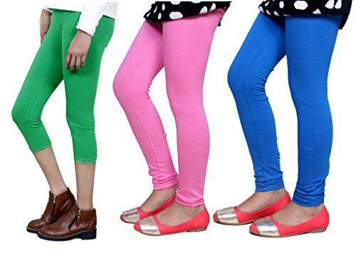 Set of -5 Indistar Little Girls Super Soft Cotton Leggings
