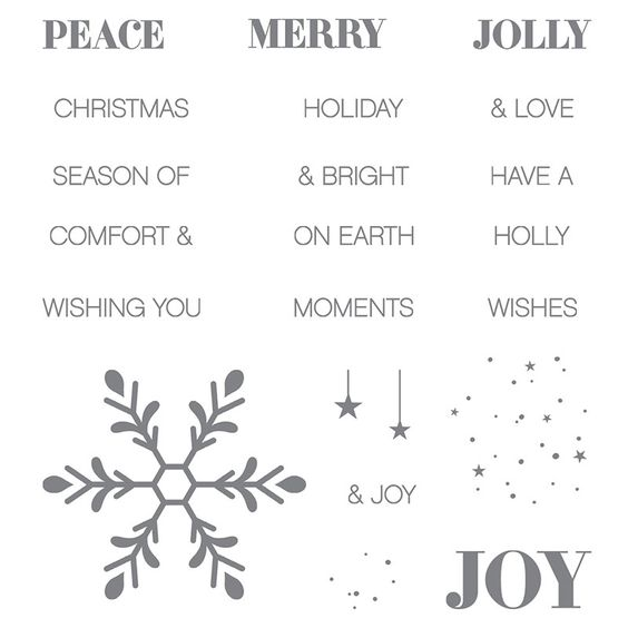 Holly Jolly Greetings stamp set, Stampin' Up! Available as a bundle w/ Christmas Greetings Thinlits (script greetings: merry, jolly & peace).
