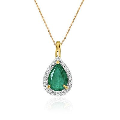 "14K Yellow Gold Pear Emerald Pendant (2/3ct. 18"" chain)"