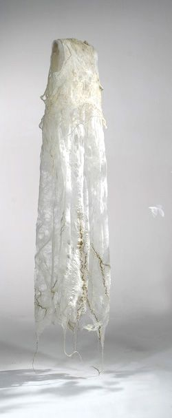 """Textile Art - mixed fiber dress sculpture exploring the idea of clothing in relation to the  ephemeral human body // """"Second Skin,"""" Agostina Zwilling"""