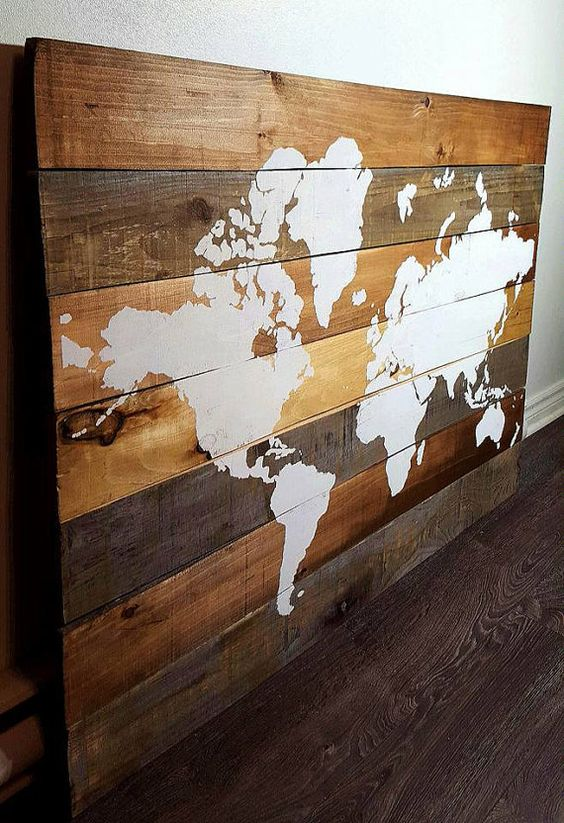 carte du monde sur bois art mural d coration murale murs d 39 art d corations murales et art. Black Bedroom Furniture Sets. Home Design Ideas