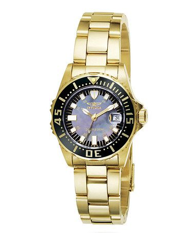 Love this Gold & Black Pro Diver Watch - Women on #zulily! #zulilyfinds
