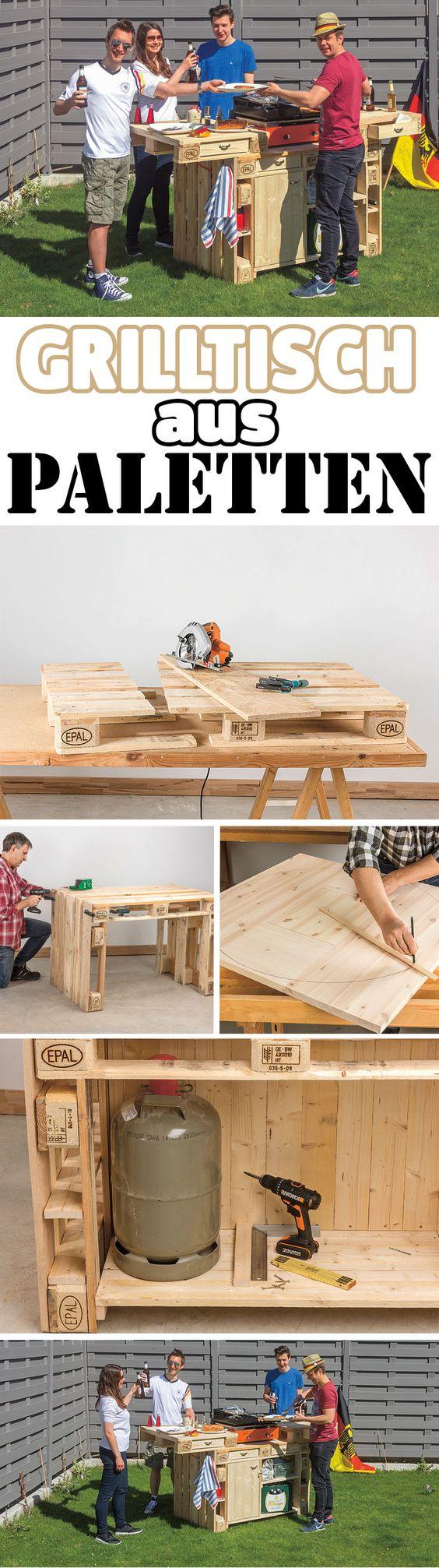 Einen großen Grilltisch kann man selbst bauen – und dank Paletten ...