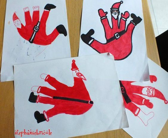 Tuto diy id e de dessin de no l pour les enfants faire un p re no l avec le contour de sa - Dessin a faire sois meme ...