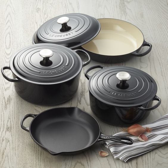 For a limited time only, Le Creuset is offering its signature enameled cast iron French oven in a chic, shiny black finish with a creamy interior. Revered by both professional chefs and home cooks since its 1925 debut, Le Creuset's classic French cookware is prized for its utilitarian good looks and unsurpassed heat retention.
