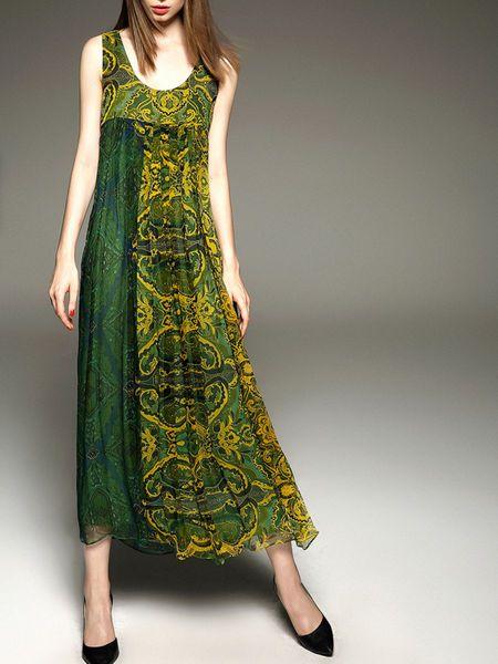Floral-print Silk #Maxi #Dress