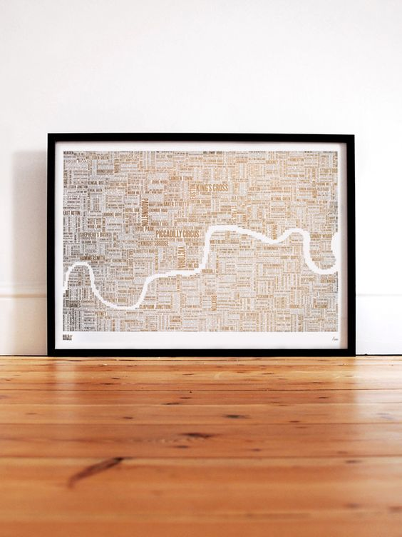 Limited Edition Foil Blocked: London Foil Type Map in Gold | A Bold & Noble screen print