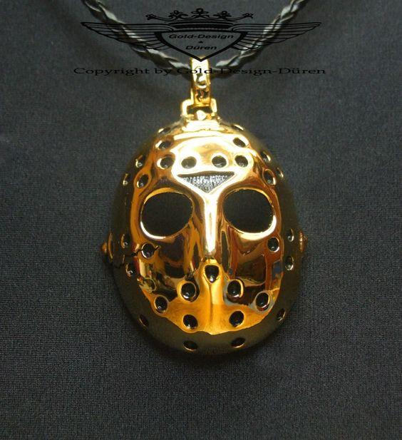 Anhänger, Jason`s Maske in 24 Karat vergoldet, Freitag der 13th, Kette, Gold