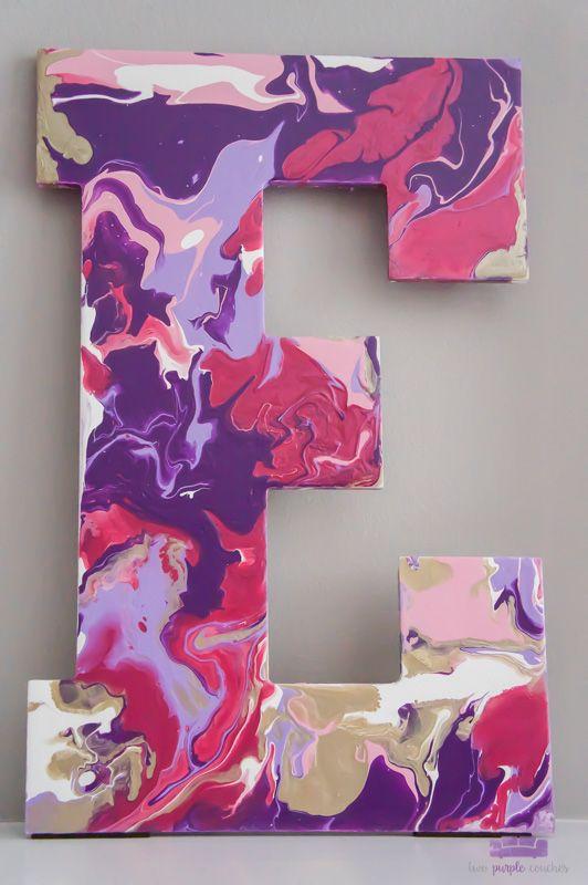 Paint Pour L O V E Letters Two Purple Couches Simple Acrylic