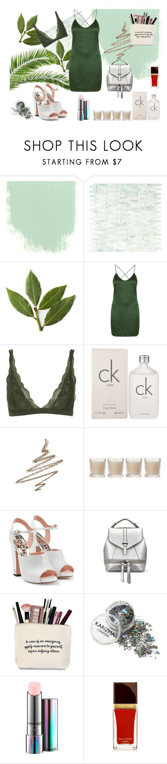 """""""Little green dress"""" by galyasedina ❤ liked on Polyvore featuring Topshop, Calvin Klein, Anastasia Beverly Hills, Shabby Chic, Rochas and MAC Cosmetics"""