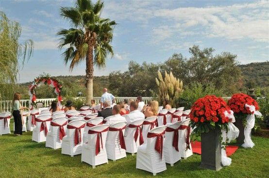Red White wedding ceremony Algarve Portugal by Algarve Wedding Planners