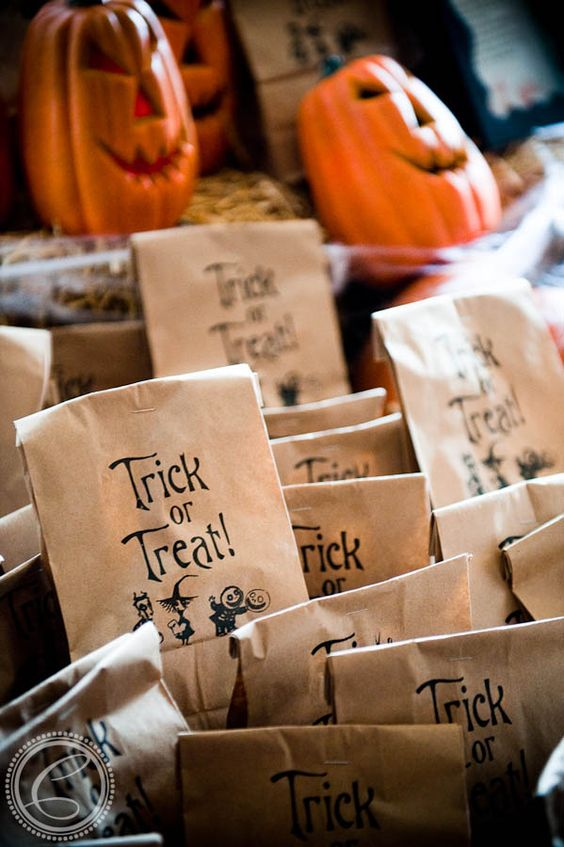 Halloween favor bags, some with treats, some with practical jokes