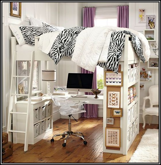 Queen loft bed with desk underneath office guest room for Queen bunk bed with desk