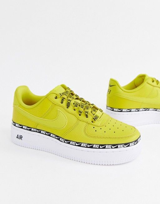 vast selection 50% off catch Nike Yellow Air Force 1 Swoosh Tape Sneakers in 2019 ...