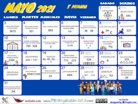 Calendario Tercero ABN – Mayo 2021