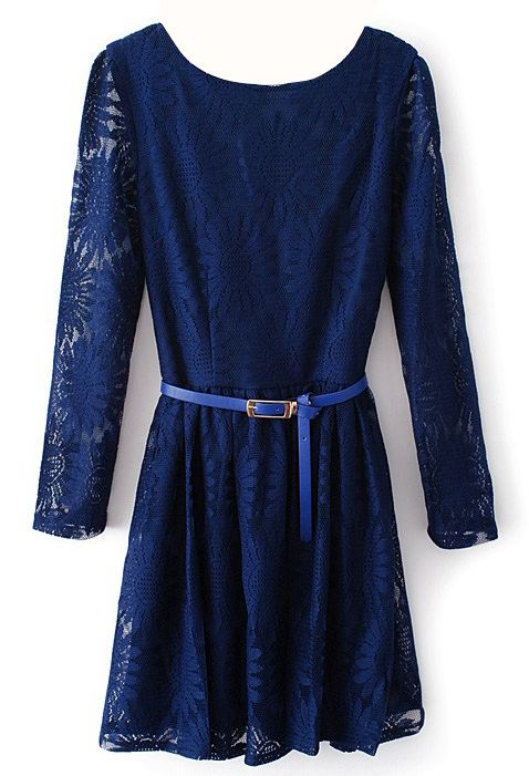 Vestido encaje girasol cuello pico cremallera-Azul oscuro 22.49