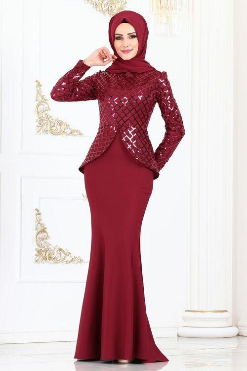 Modaselvim Abiye Pul Payetli Balik Abiye Asm2138 Bordo Print Chiffon Maxi Dress Soiree Dress Formal Dresses