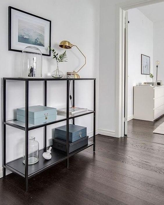 Ikea 'Vittsjö' shelf | Spray frame copper and make the shelves high gloss white…