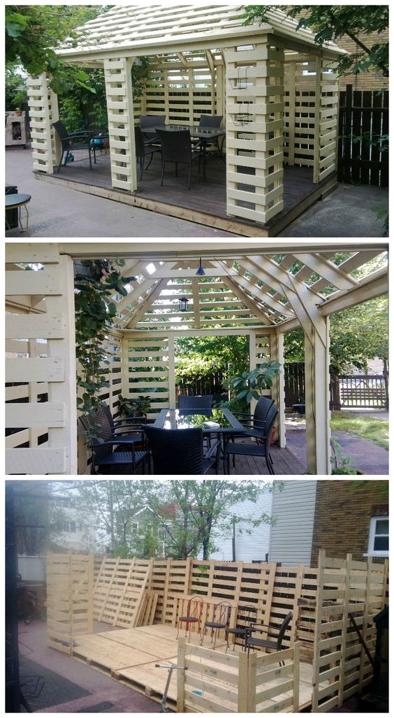 Complete pallet pavillon built with europallets.Really beautiful work ! not for beginners ! Idea sent by yves Cummings !: