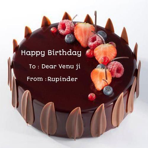 Birthday Chocolate Velvet Decorated Cake With Your Name Happy