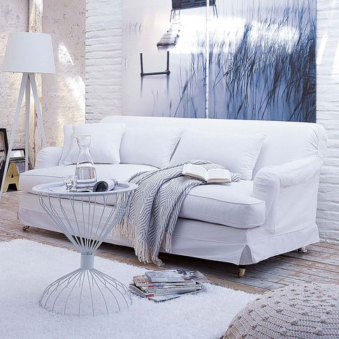 Sofa Mit Abnehmbarer Husse 3 Sitzer In Wei Bei Impressionen Combinaison Bureau Chambre D