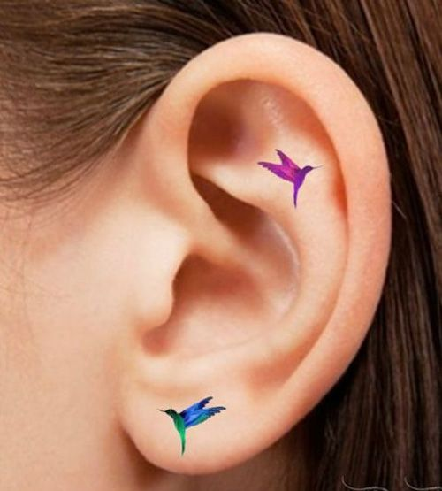 Awesome Ideas to Get Lovely Hummingbird Tattoos on Ear for Girls: