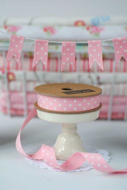 Pink spot ribbon bunting idea from Jane Means