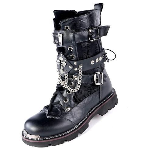 Mens Shoes Knee High Boots Punk Skull Chains