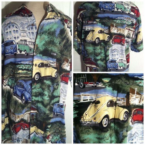 DeeTour 1950's Volkswagen VW Split Window Bug Bus Hawaiian Camp Shirt Sz Medium #DeeTour #Hawaiian