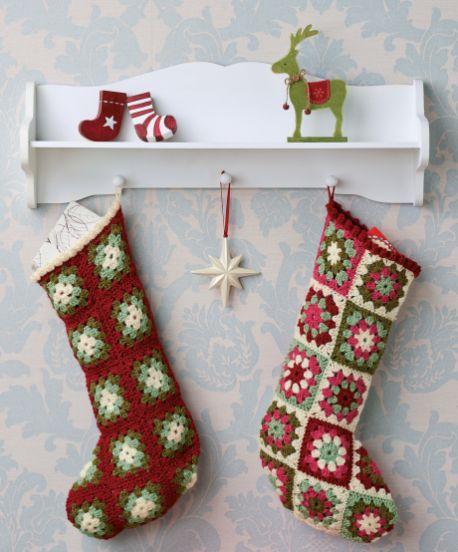 Free Crochet Pattern For Granny Square Christmas Stocking : Crochet Christmas Stockings - Lets knit.co.uk Crochet ...