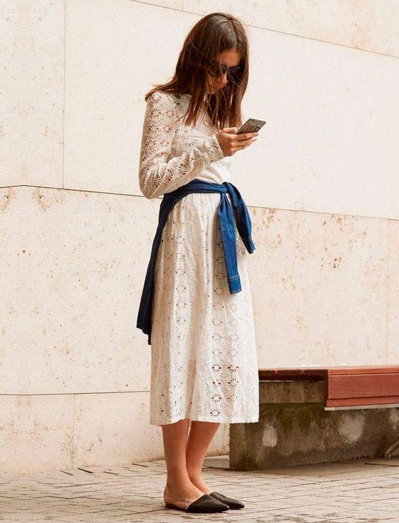 vestido de renda com mule