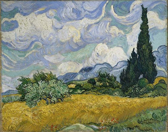 Vincent van Gogh, Wheat Field with Cypresses, 1889. Oil on canvas, 73 × 93.4 cm / 28¾ × 36¾ in Metropolitan Museum of Art, New York. As reproduced in Art in Time.