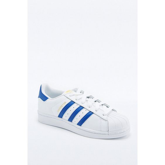 adidas Originals Blue and White Superstar Trainers (€94) ❤ liked on Polyvore featuring shoes, sneakers, white, adidas originals trainers, adidas originals shoes, adidas originals sneakers, white shoes and white trainers