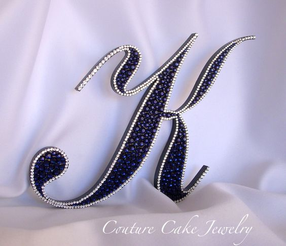 Dark Indigo bordered in Crystal Swarovski crystals makes for a stunning Monogram Cake Topper!