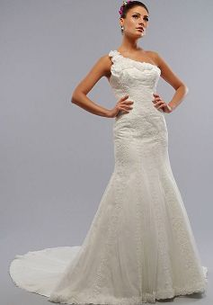 Elaborate Mermaid One Shoulder Lace With Flowers Court Train Wedding Dresses - 1300100842B - US$219.99 - BellasDress