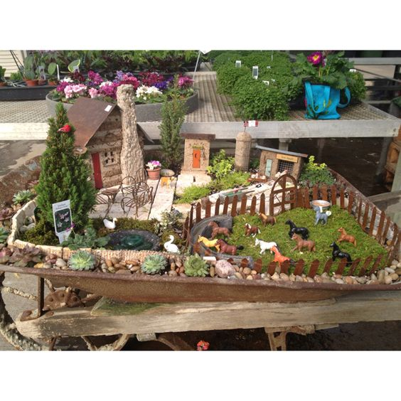 Fairy garden wheelbarrow: