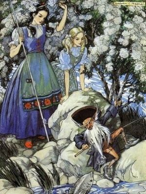 Snow White and Rose Red -- Barbara C. Freeman -- Fairytale Illustration I always thought of my brunette sister and blonde me...as Snow White & Rose Red. :-):