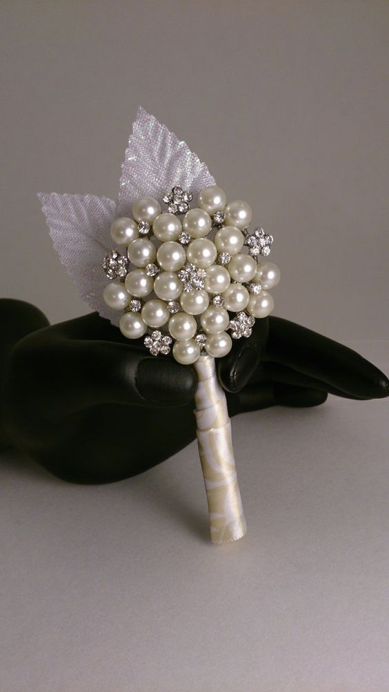 Pearl Brooch Boutonniere. Sparkling vintage pearl by TheBouquetBar, $25.00