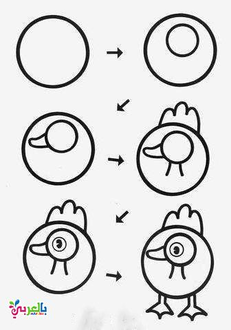 رسم بطة بالخطوات للاطفال Art Drawings For Kids Easy Drawings Drawing For Kids