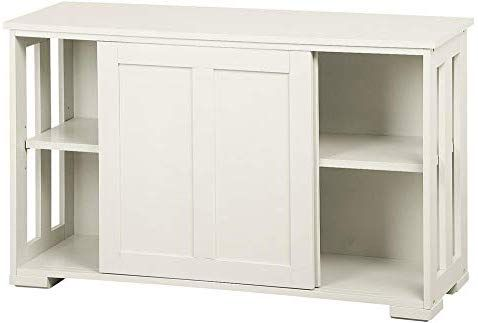 Yaheetech Antique White Buffet Cabinet Kitchen Table with Sliding Door Stackable