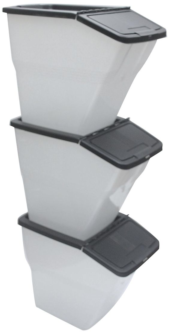 Stackable Bins With Hinged Lids 24 Quart Stackable