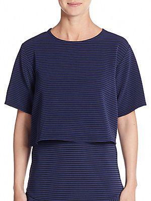 BCBGeneration Striped Jacquard-Knit Crop Top - Navy - Size