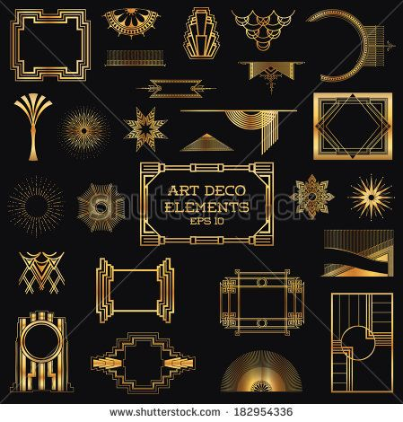 Design Elements Beer Frames Symbols Icons Vintage Art Deco Art Deco