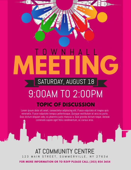 Townhall Meeting Flyer in 2020 Flyer Flyer template Flyer and poster design
